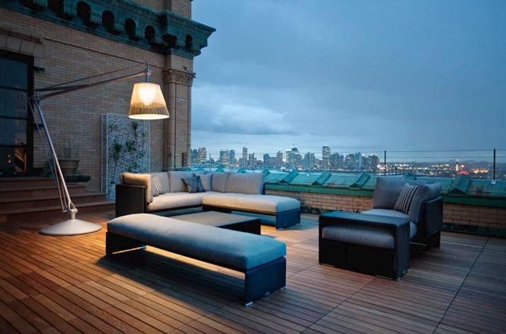 Outdoor-Gartenlampe, Dedon, Flos, moderne Dachterrassen Gestaltung  